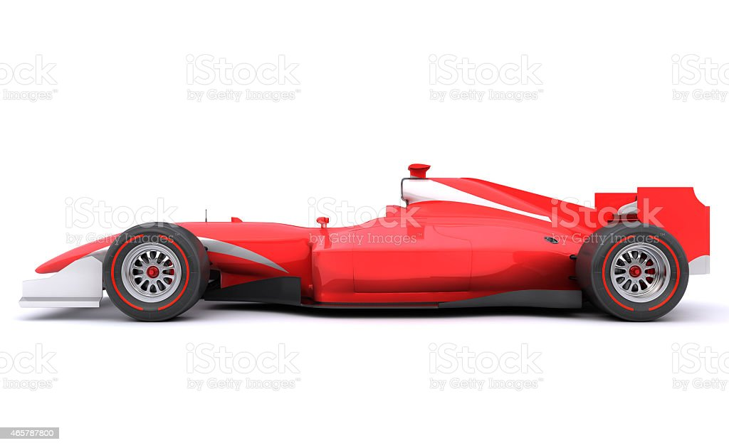 Formula race red car. Side view stock photo