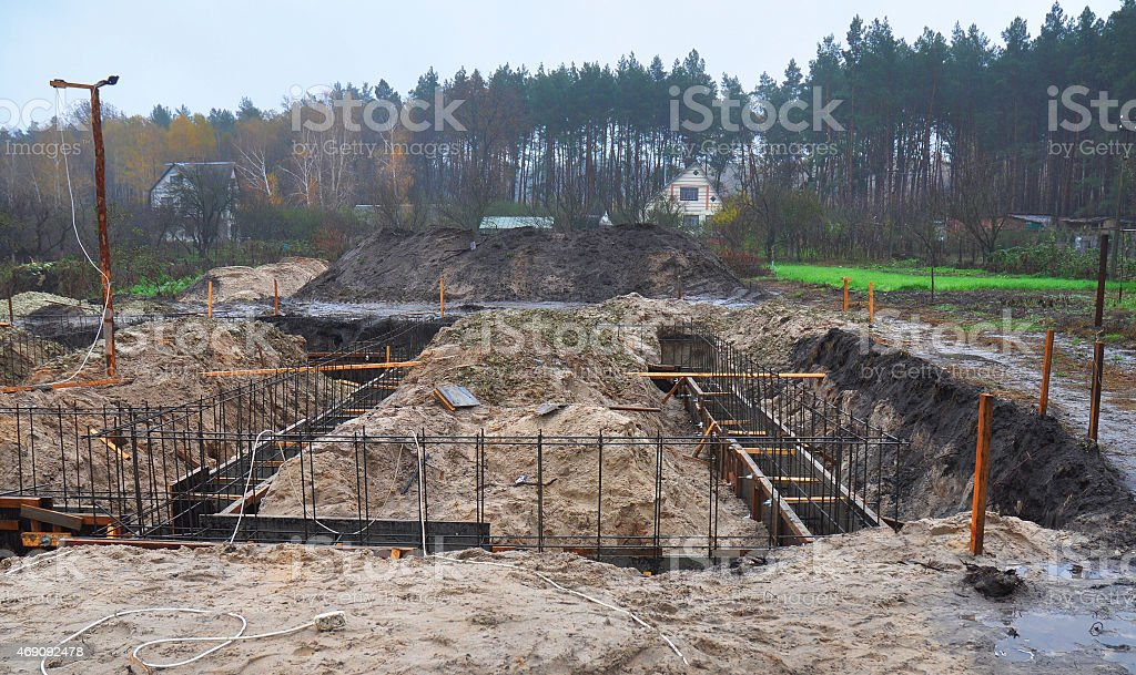 Formwork for the concrete foundation, building site  in suburbs. stock photo