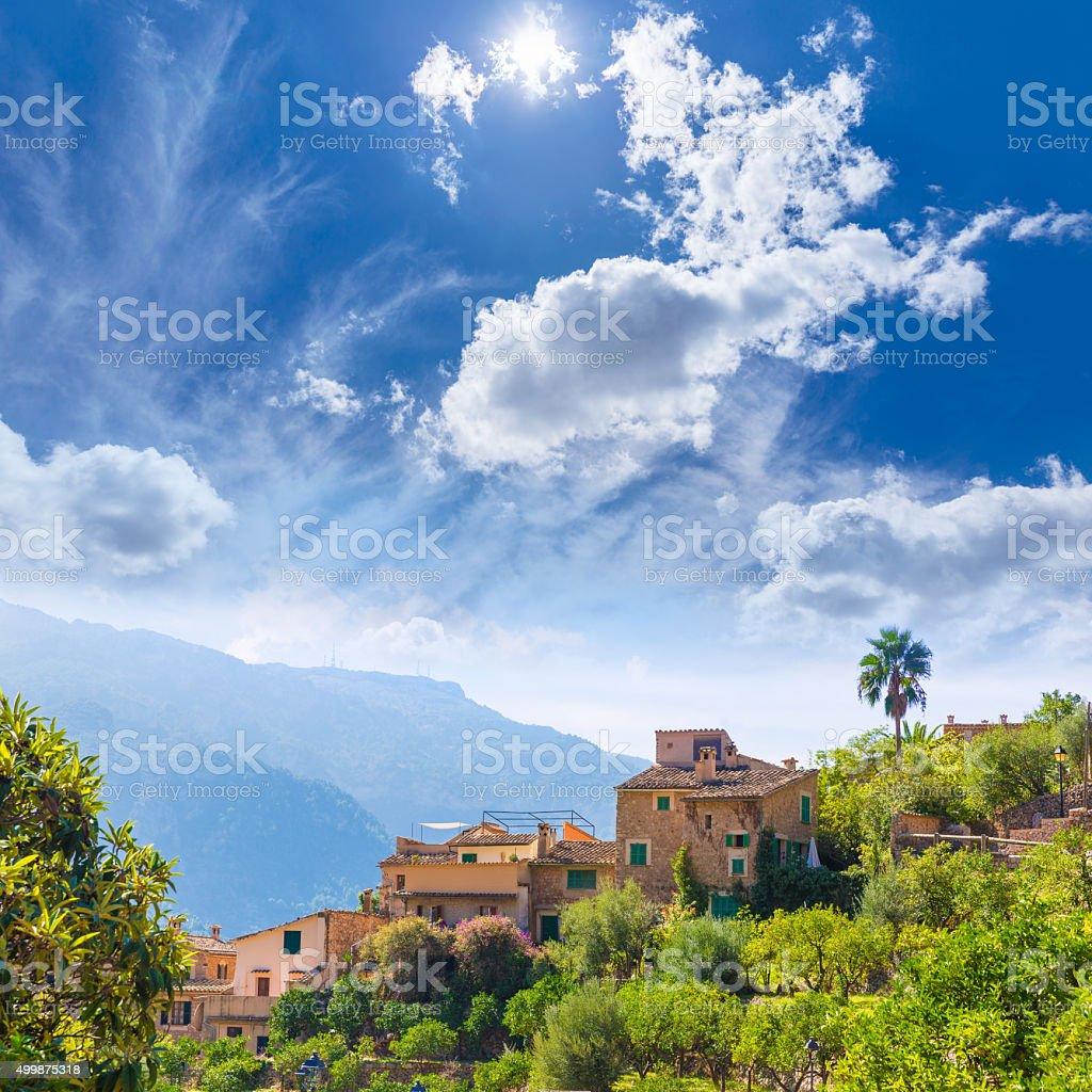Fornalutx village in Majorca Balearic island stock photo
