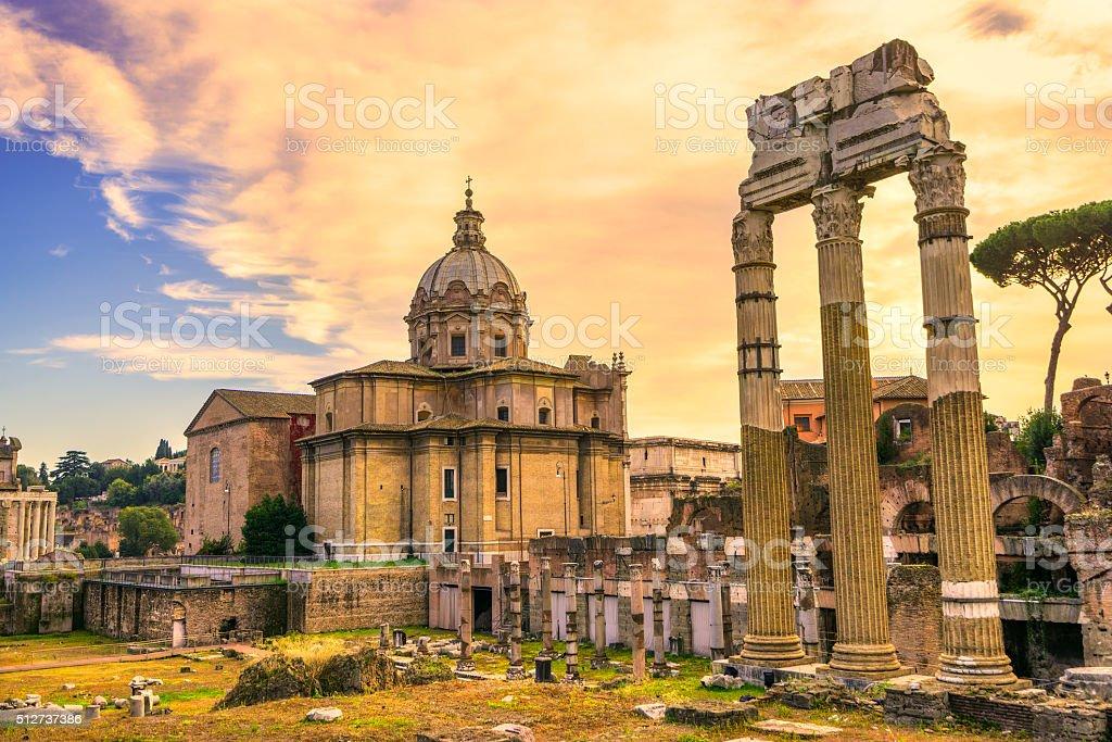 Foro Romano at Dusk, Rome, Italy. stock photo