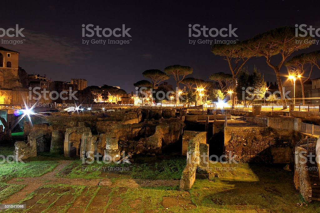 Foro Traiano in Rome, Italy - night scene stock photo
