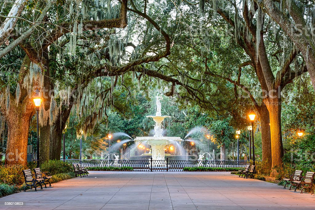 Forsyth Park in Savannah, Georgia stock photo