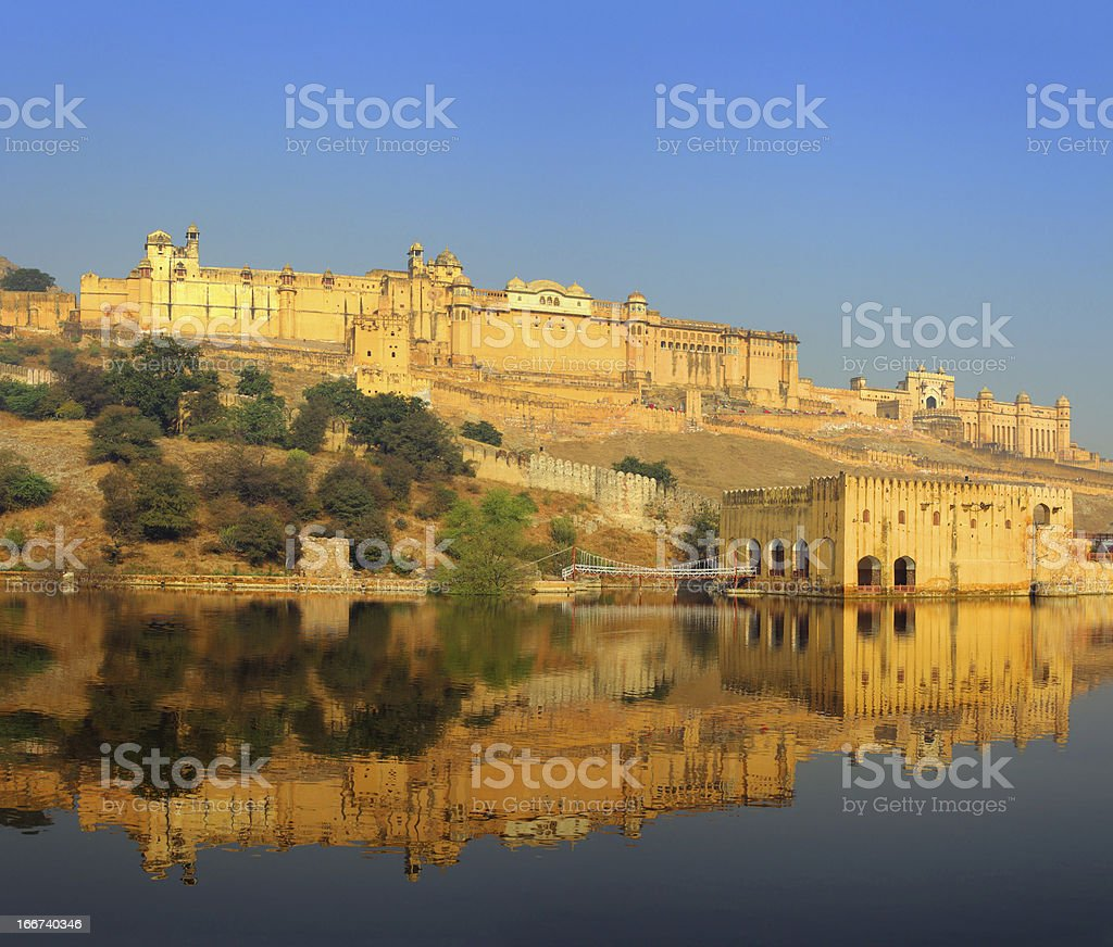fort and lake in Jaipur India royalty-free stock photo