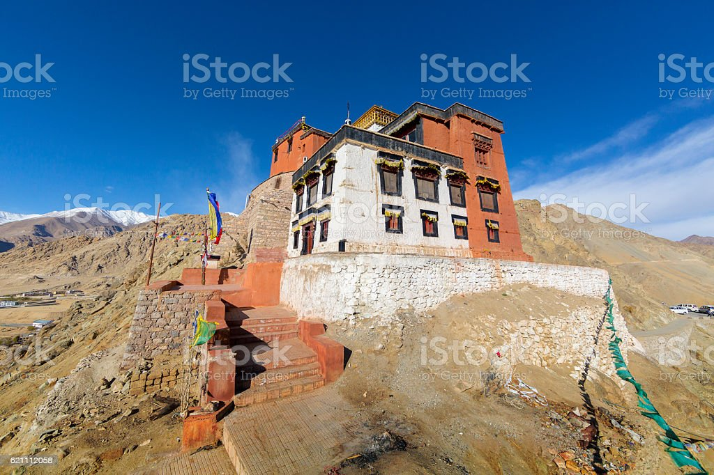 Fort and Namgyal or red gompa in Leh. Ladakh. India stock photo