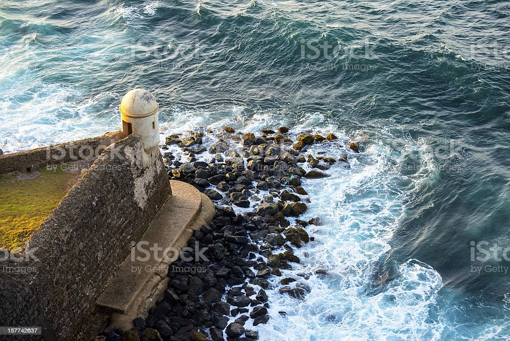Fort and sea in Puerto Rico stock photo