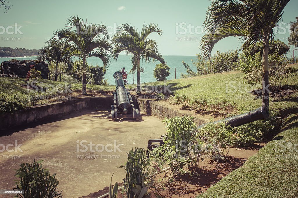 Fort Bennett Tobago Cannons stock photo