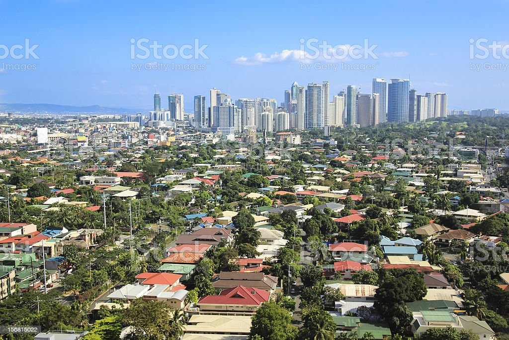 Fort Bonifacio skyline of Makati City in the Philippines stock photo