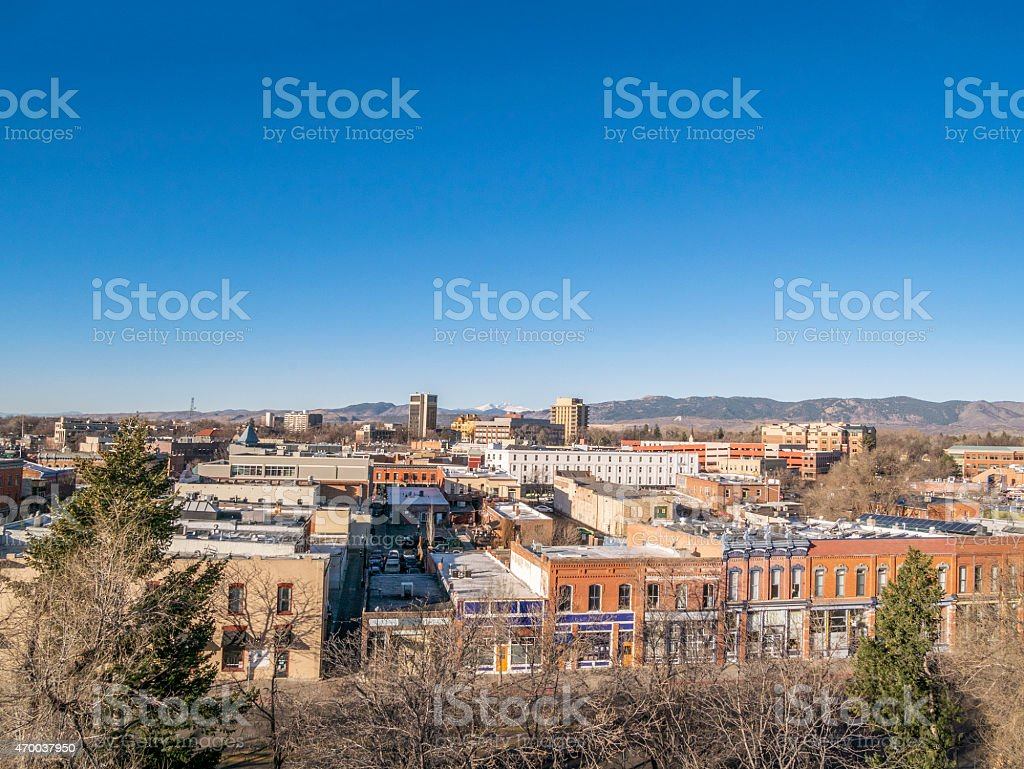 Fort Collins aerial cityscape stock photo
