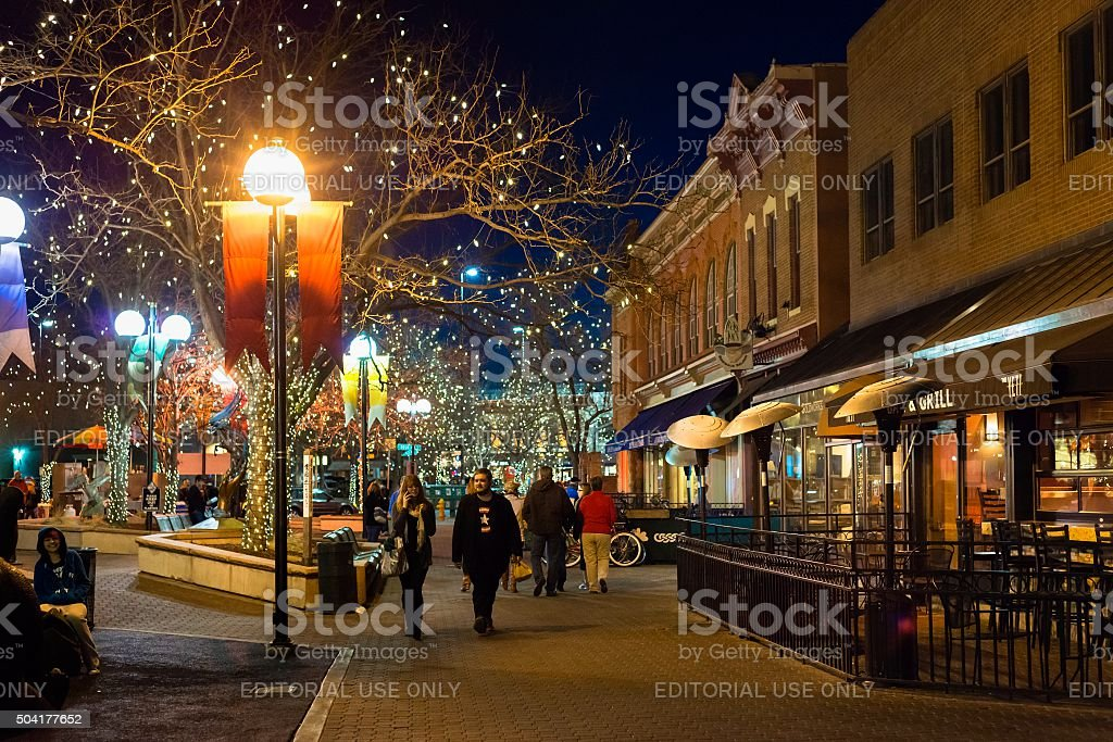 Fort Collins at Night stock photo