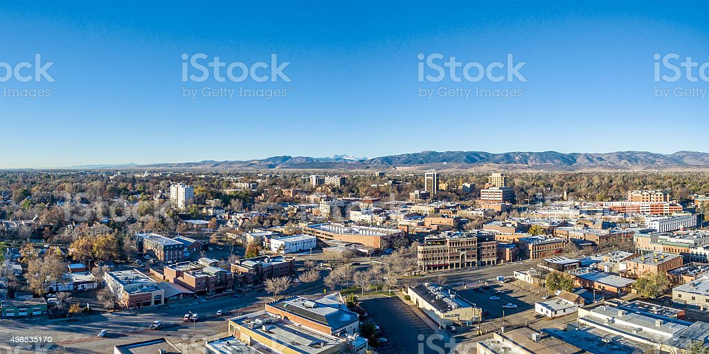 Fort Collins cityscape panorama stock photo