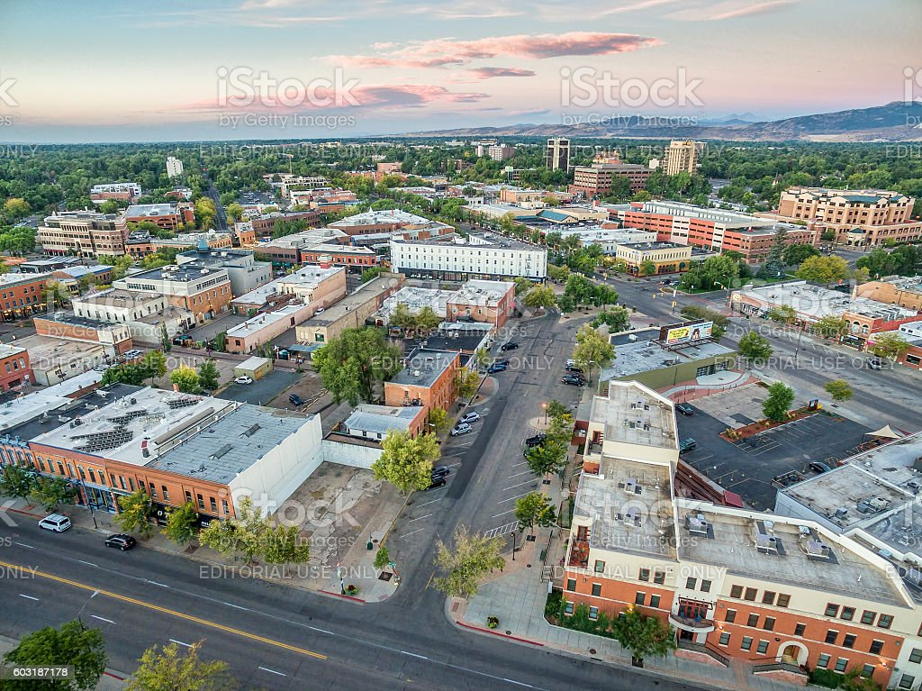 Fort Collins downtown aerial view stock photo