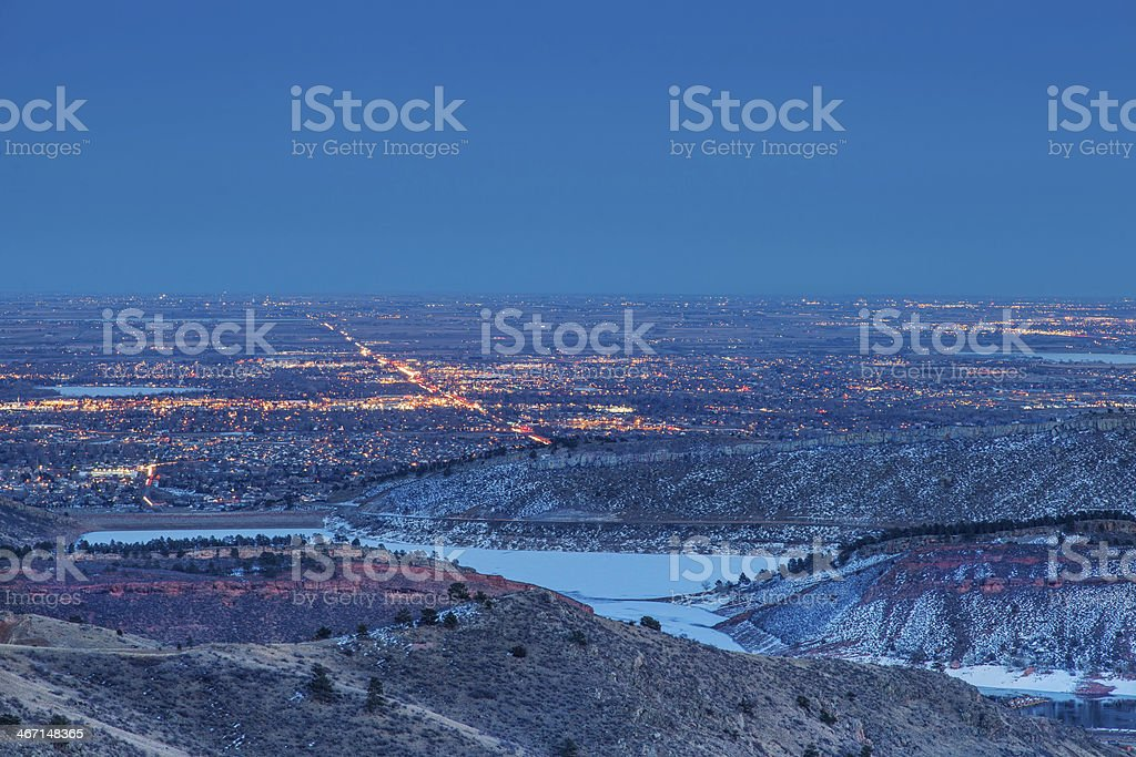 Fort Collins nightscape stock photo