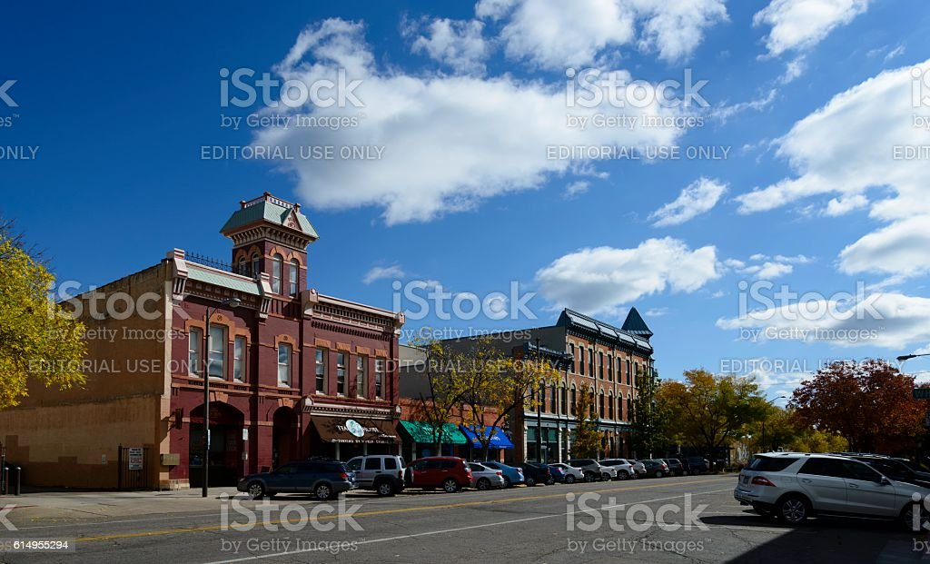 Fort Collins Street Scene in Autumn stock photo