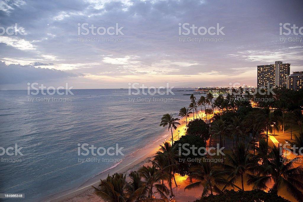 Fort DeRussy Beach at Dusk in Waikiki, Hawaii royalty-free stock photo