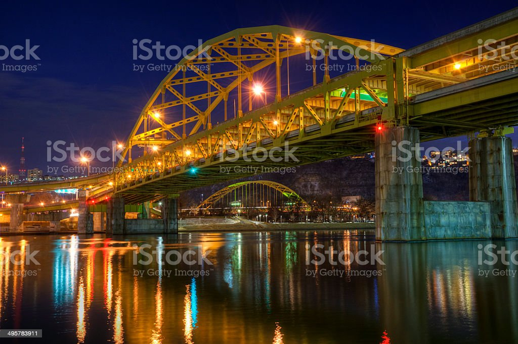 Fort Duquesne Bridge at Night stock photo