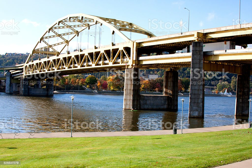 Fort Duquesne Bridge in Pittsburgh stock photo