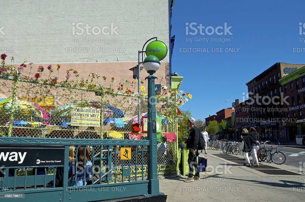 Fort Greene Brooklyn street scene, Habana Outpost, New York City royalty-free stock photo