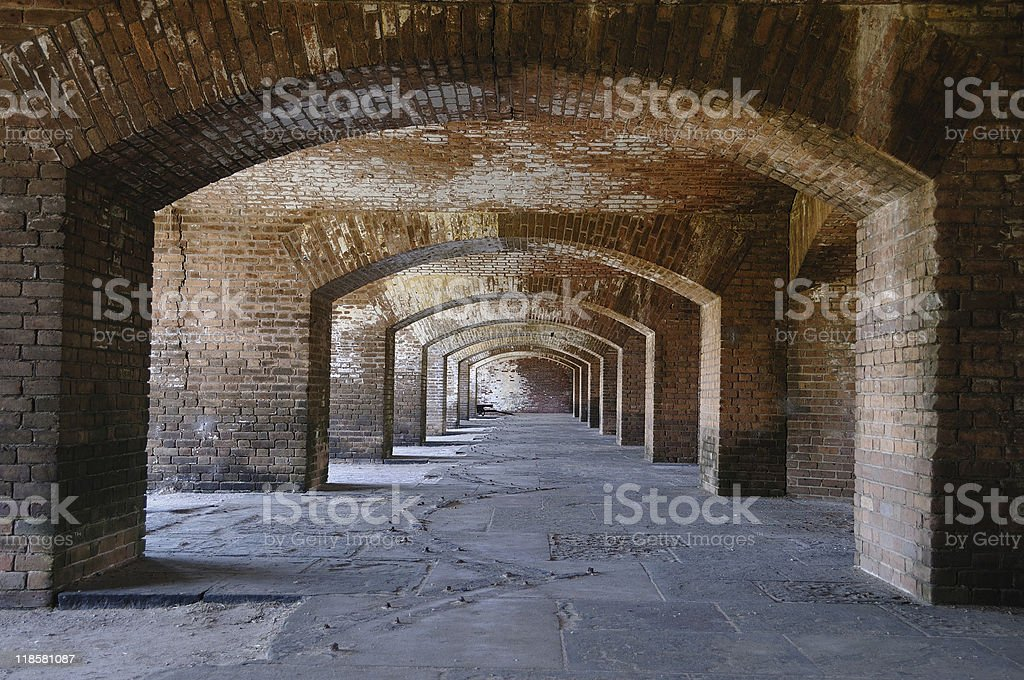Fort Jefferson Cloisters stock photo