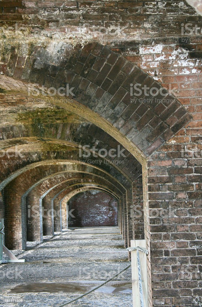 Fort Jefferson inner arches, Dry Tortugas, Florida stock photo