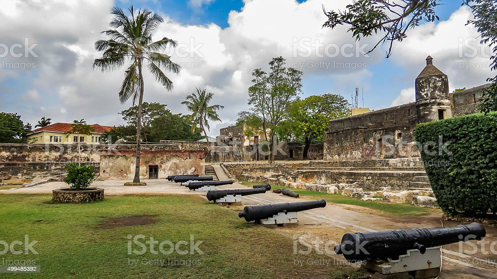 Fort Jesus in Mombasa on a cloudy day, Kenya stock photo