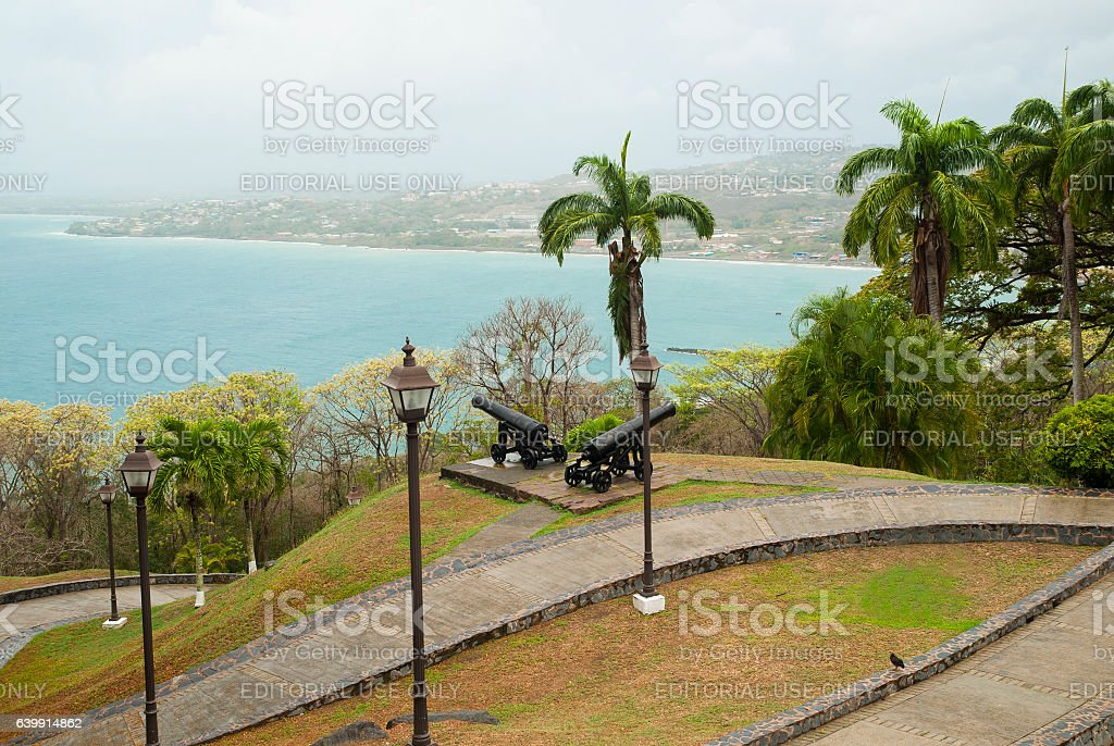 Fort King George and Scarborough in Tobago stock photo