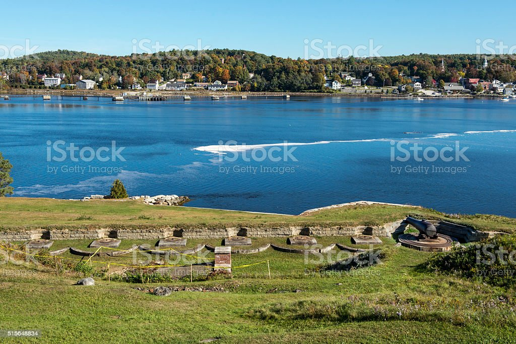Fort Knox Historic Site Maine From Penobscot Narrows Bridge Observatory stock photo