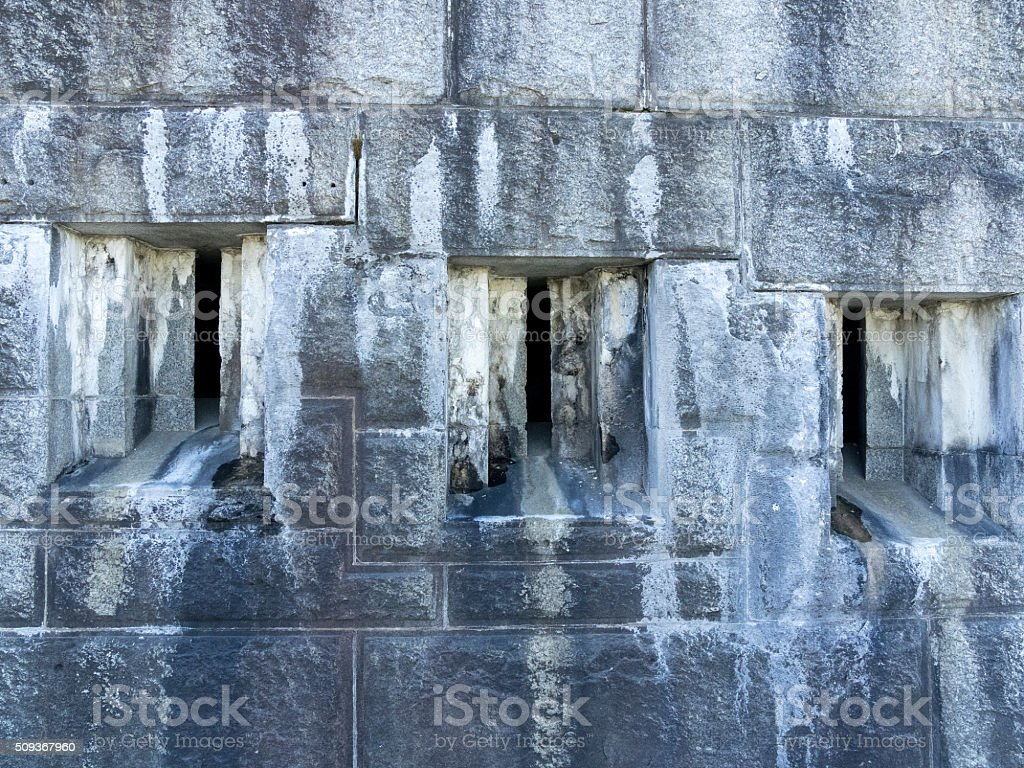 Fort Knox State Historic Site Maine Outside Wall Casemate Opening stock photo