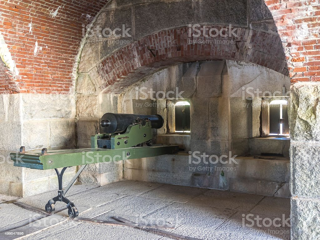 Fort Knox State Historic Site Maine USA Casemate Cannon stock photo