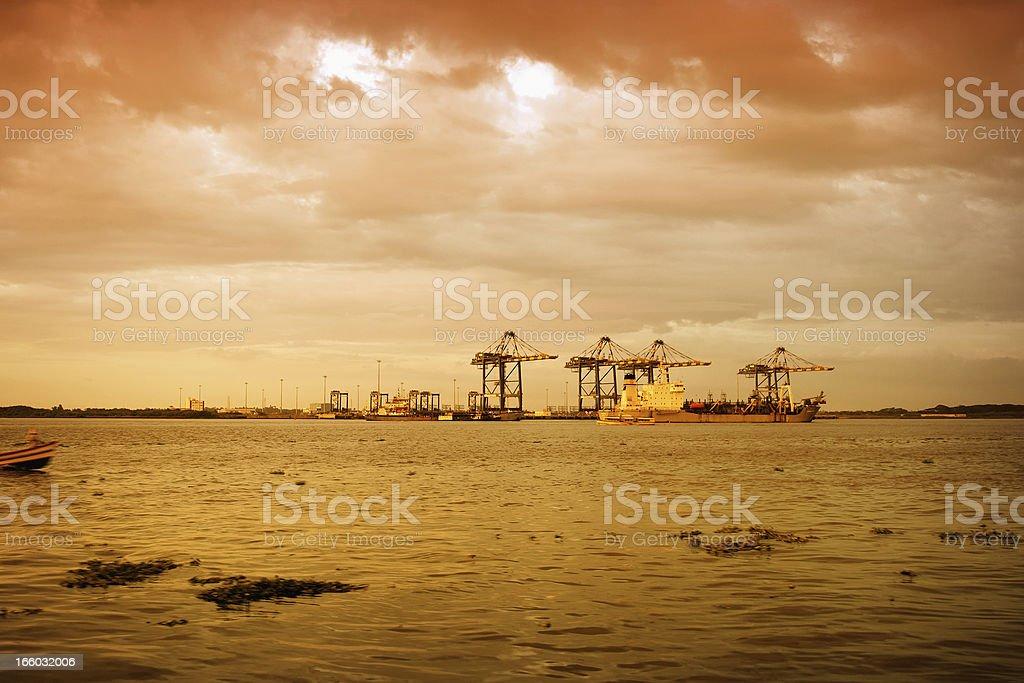 Fort Kochi shoreline at sunset royalty-free stock photo
