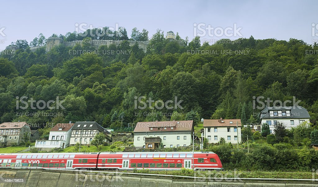 Fort Konigstein with red train in front stock photo
