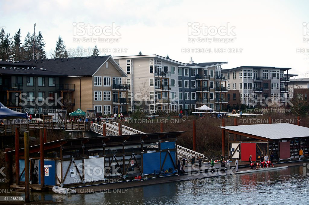 Fort Langley Condos And The Bedford Channel Regatta stock photo