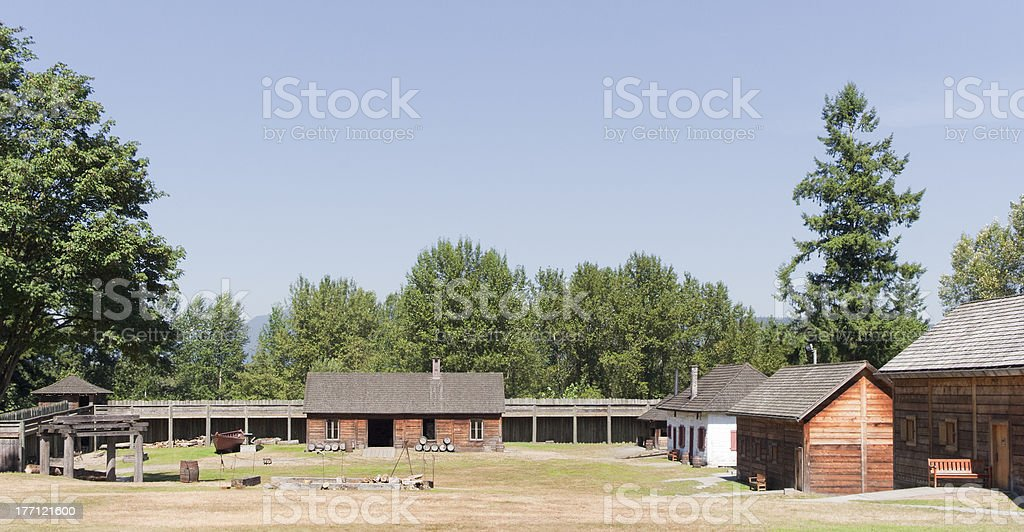 Fort Langley with Log Cabins and fortified Wall stock photo