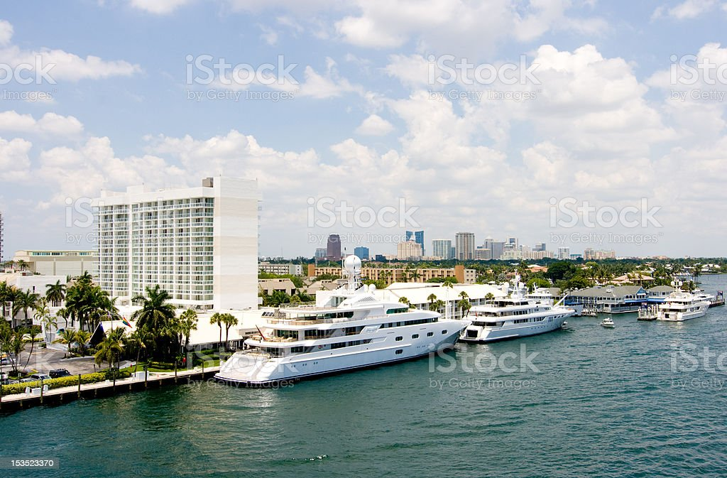 Fort Lauderdale and luxury yachts royalty-free stock photo