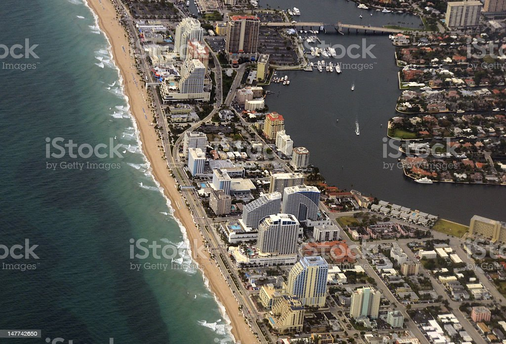 Fort Lauderdale Beach aerial view royalty-free stock photo