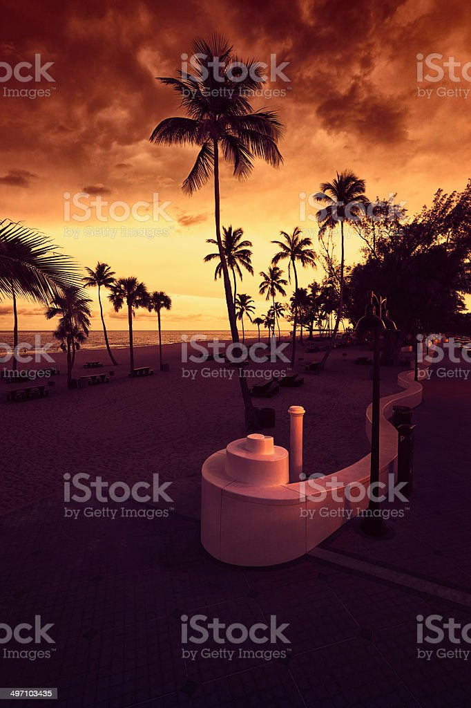 Fort Lauderdale Beach at Sunset stock photo