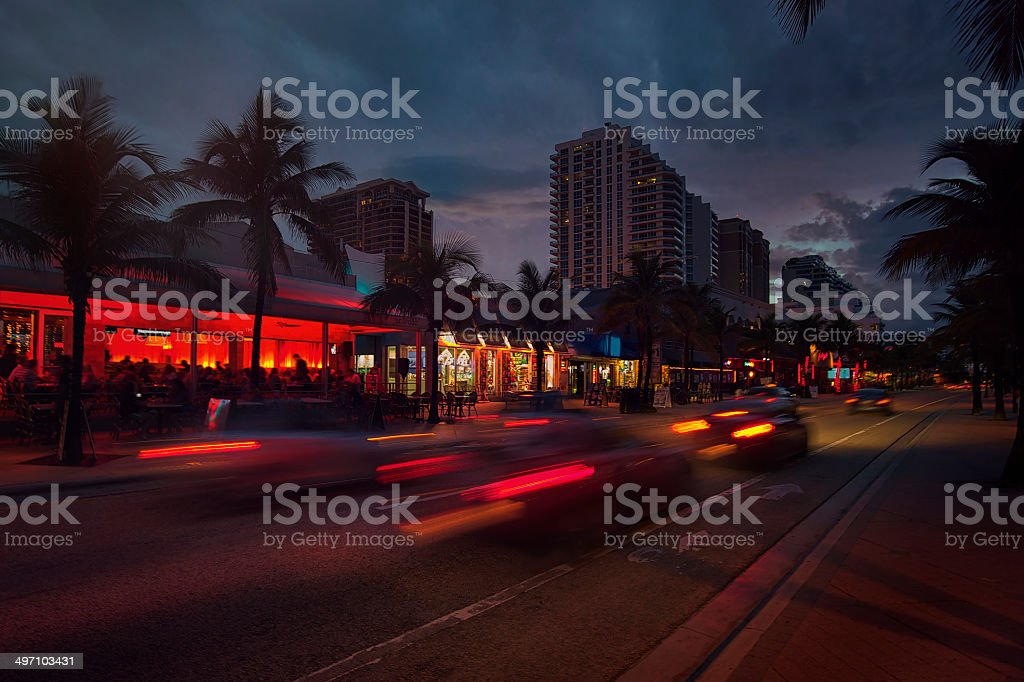 Fort Lauderdale Beach blvd. at night2222 stock photo