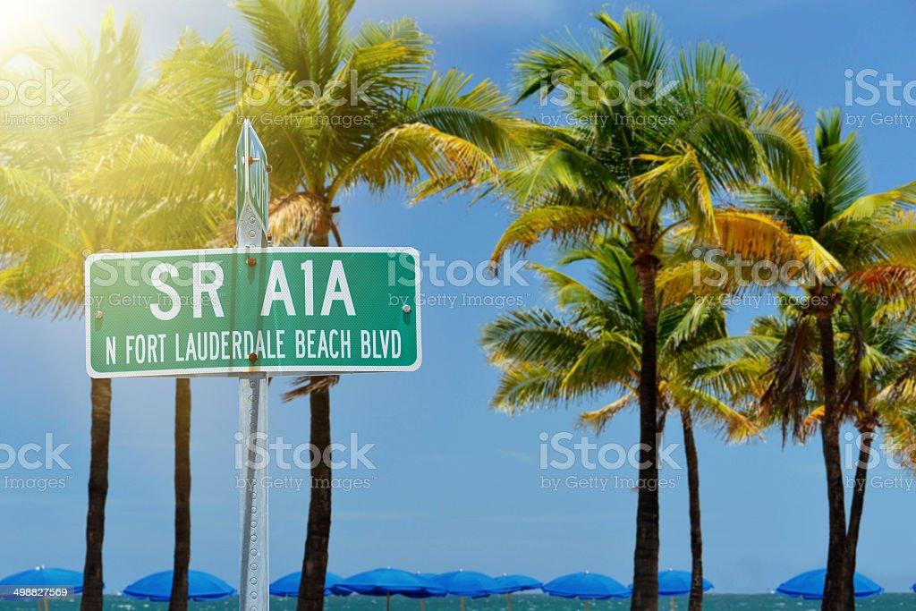 Fort Lauderdale Beach Street Sign stock photo