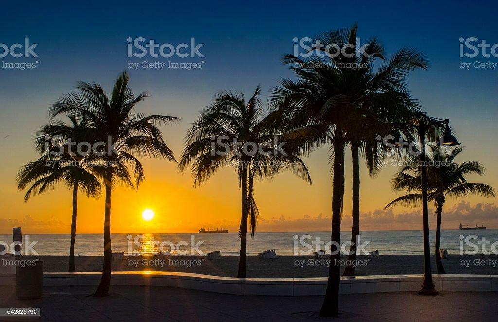 Fort Lauderdale Beach Sunrise stock photo