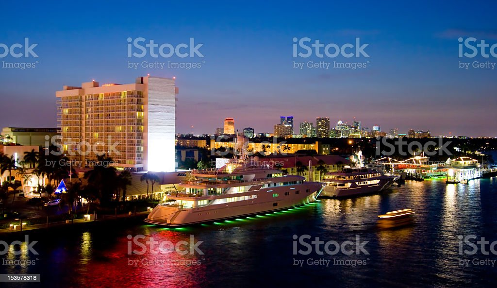 Fort Lauderdale night stock photo