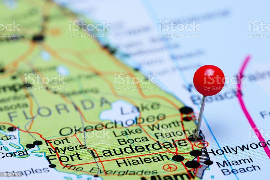 Fort Lauderdale pinned on a map of USA stock photo
