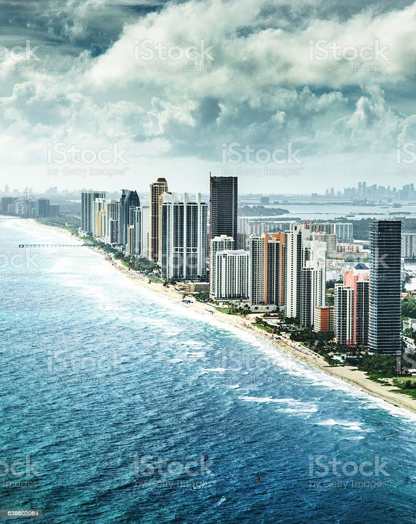 Fort Lauderdale strip aerial view stock photo
