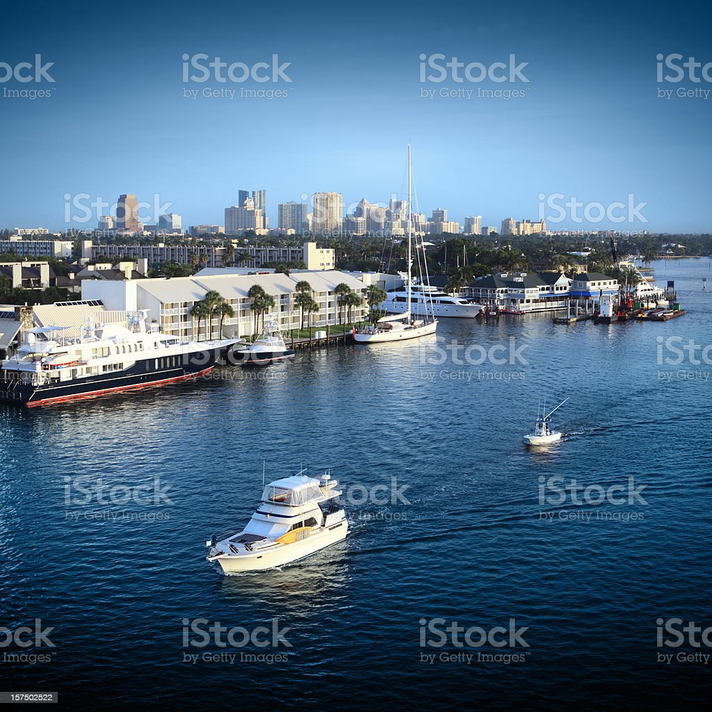 Fort Lauderdale Yachts and Skyline royalty-free stock photo