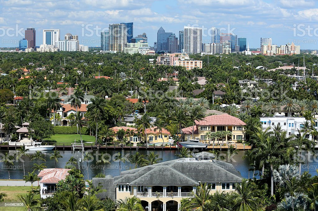 Fort Lauderdale's skyline and adjacent waterfront homes stock photo