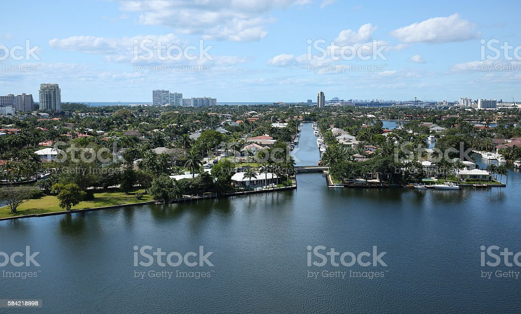 Fort Lauderdale's skyline with numerous canals and waterfront homes stock photo