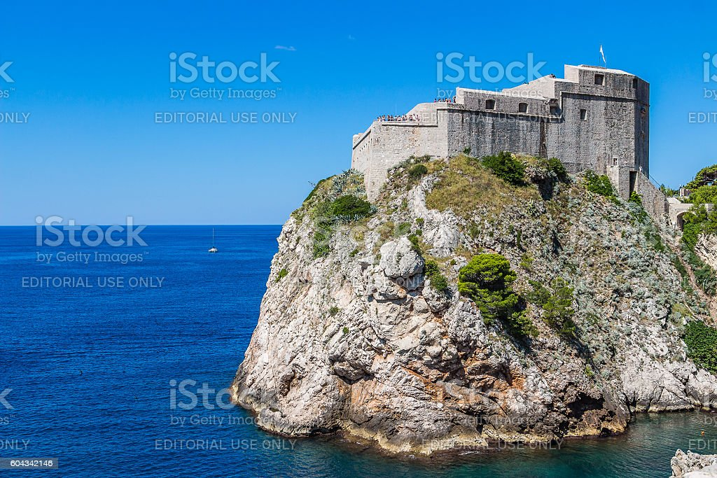 Fort Lovrijenac in a sunny summer day in Dubrovnik, Croatia stock photo