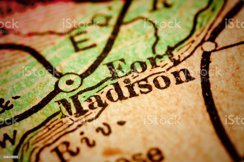 Fort Madison, Iowa on an Antique map stock photo