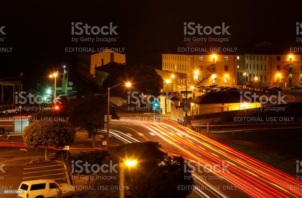 Fort Mason Center at night in San Francisco stock photo