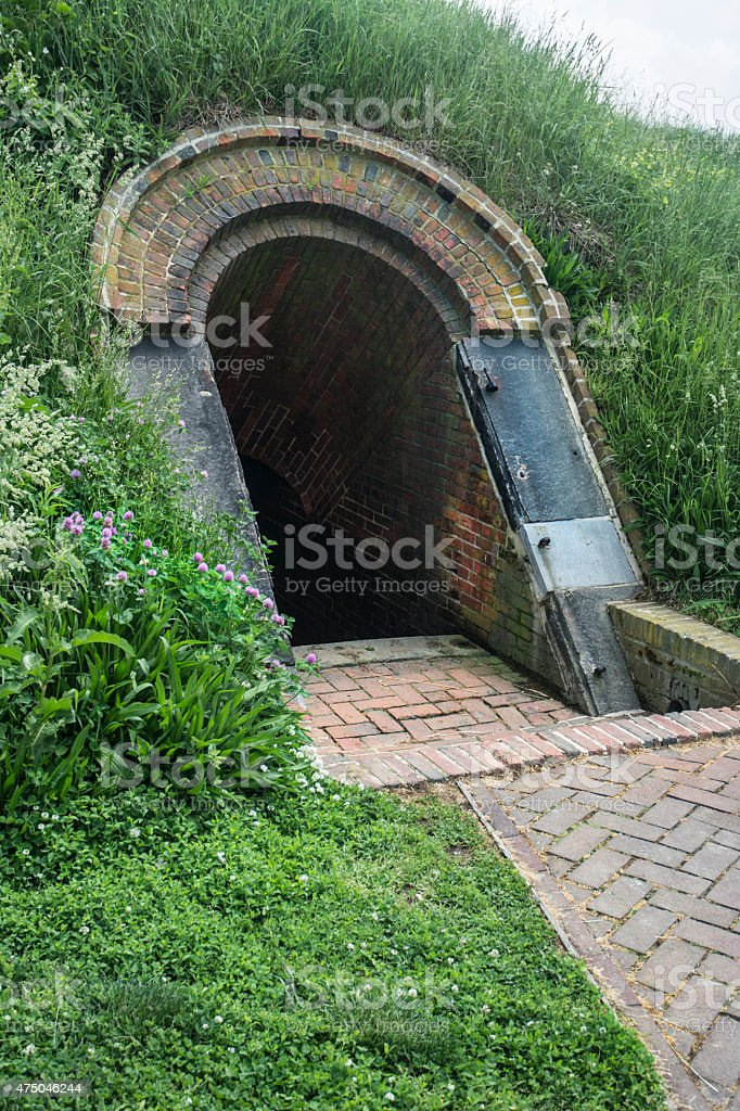Fort McHenry Civil War Arched Brick Underground Tunnel Entrance stock photo