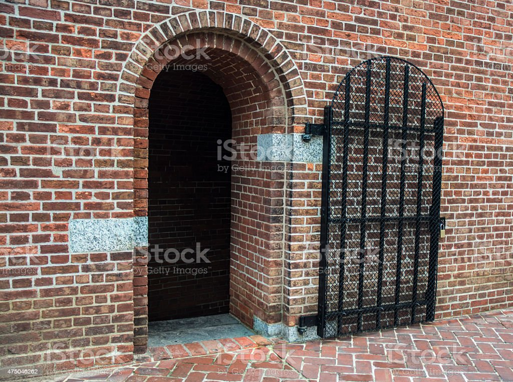 Fort McHenry Civil War Bricked Jail Entrance With Iron Gate stock photo
