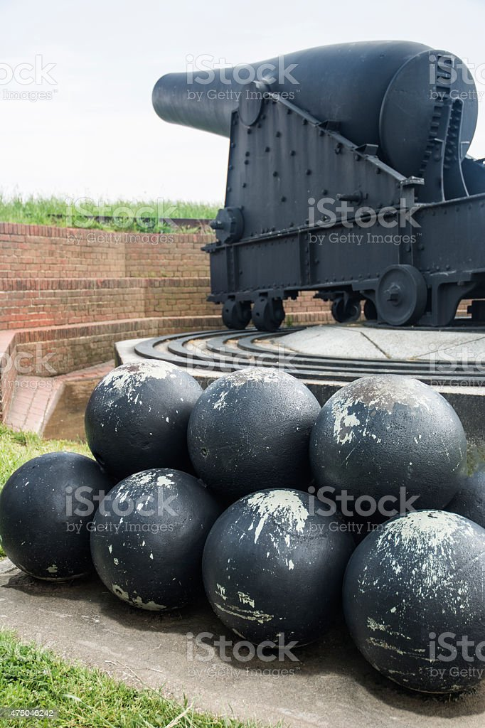 Fort McHenry Civil War Cannon And Cannonballs stock photo